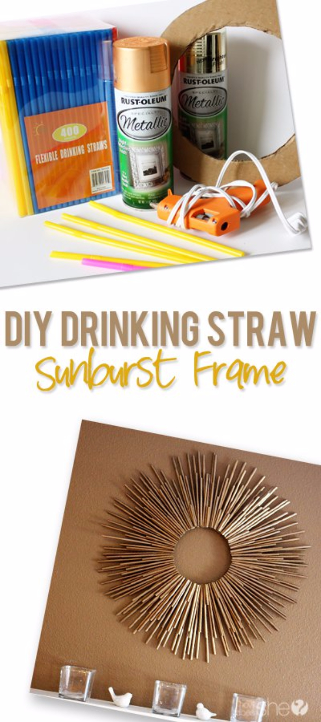 DIY Teen Room Decor Ideas for Girls | DIY Drinking Straw Sunburst Frame | Cool Bedroom Decor, Wall Art & Signs, Crafts, Bedding, Fun Do It Yourself Projects and Room Ideas for Small Spaces #teencrafts #roomdecor #teens #diy