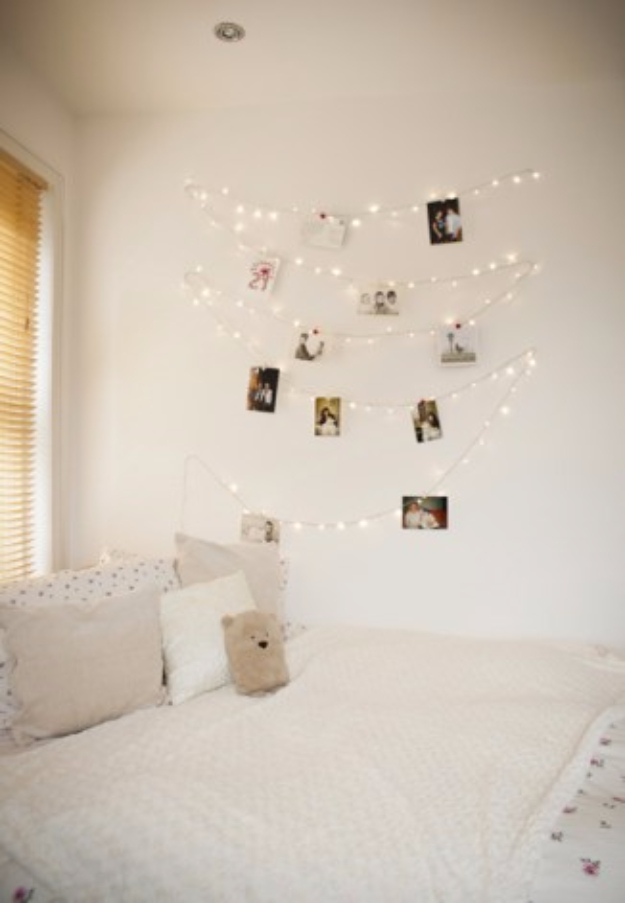 DIY Lighting Ideas for Teen and Kids Rooms - DIY Fairy Light Wall - Fun DIY Lights like Lamps, Pendants, Chandeliers and Hanging Fixtures for the Bedroom plus cool ideas With String Lights. Perfect for Girls and Boys Rooms, Teenagers and Dorm Room Decor