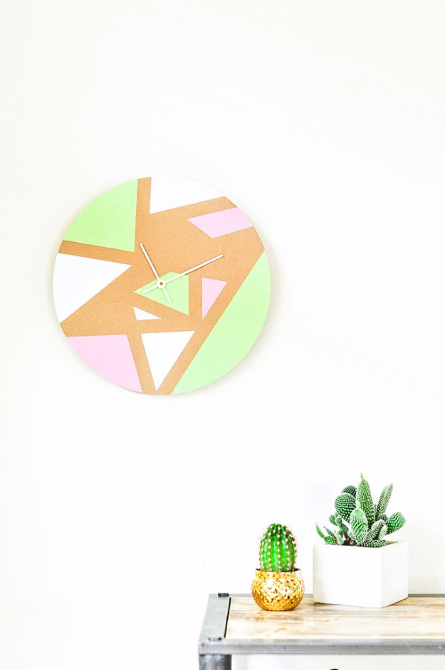DIY Teen Room Decor Ideas for Girls | DIY Geometric Wall Clock | Cool Bedroom Decor, Wall Art & Signs, Crafts, Bedding, Fun Do It Yourself Projects and Room Ideas for Small Spaces #teencrafts #roomdecor #teens #diy