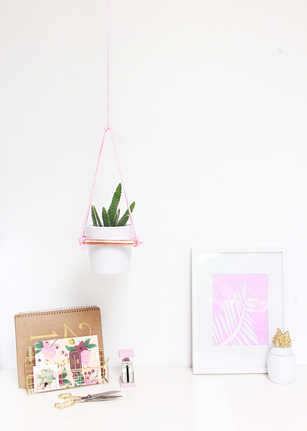 DIY Teen Room Decor Ideas for Girls | DIY Hanging Copper Planter | Cool Bedroom Decor, Wall Art & Signs, Crafts, Bedding, Fun Do It Yourself Projects and Room Ideas for Small Spaces