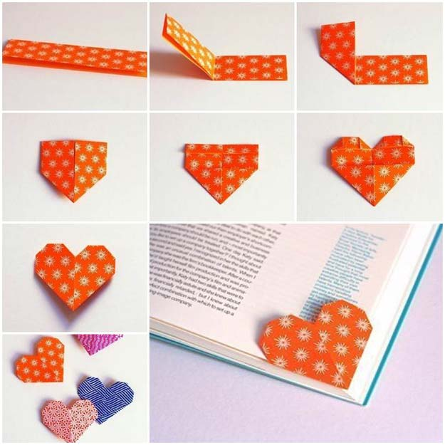 Best Origami Tutorials - Unique Origami Heart Bookmark - Easy DIY Origami Tutorial Projects for With Instructions for Flowers, Dog, Gift Box, Star, Owl, Buttlerfly, Heart and Bookmark, Animals - Fun Paper Crafts for Teens, Kids and Adults #origami #crafts