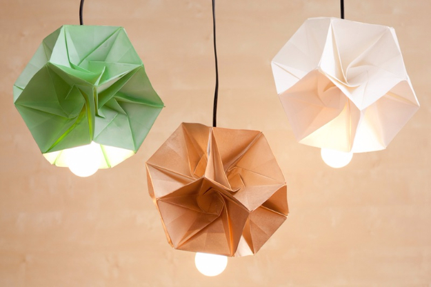 DIY Lighting Ideas for Teen and Kids Rooms - DIY Origami Lamp Shade - Fun DIY Lights like Lamps, Pendants, Chandeliers and Hanging Fixtures for the Bedroom plus cool ideas With String Lights. Perfect for Girls and Boys Rooms, Teenagers and Dorm Room Decor