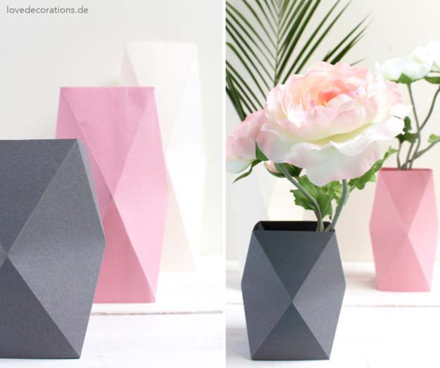Best Origami Tutorials - Origami Vase - Easy DIY Origami Tutorial Projects for With Instructions for Flowers, Dog, Gift Box, Star, Owl, Buttlerfly, Heart and Bookmark, Animals - Fun Paper Crafts for Teens, Kids and Adults #origami #crafts