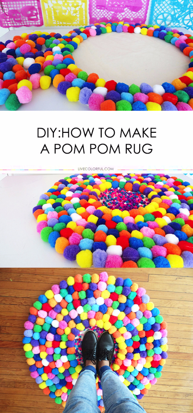 DIY Teen Room Decor Ideas for Girls | DIY Pom Pom Rug | Creative Ideas for Teens, Tweens and Teenagers Rooms - Cool Bedroom Decor, Wall Art & Signs, Crafts, Bedding, Fun Do It Yourself Projects and Room Ideas for Small Spaces http://diyprojectsforteens.com/diy-teen-bedroom-ideas-girls-rooms