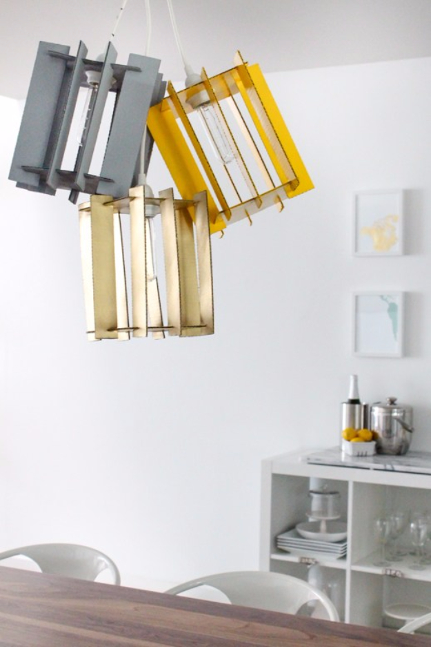 DIY Lighting Ideas for Teen and Kids Rooms - DIY Recycled Cardboard Pendant Lights - Fun DIY Lights like Lamps, Pendants, Chandeliers and Hanging Fixtures for the Bedroom plus cool ideas With String Lights. Perfect for Girls and Boys Rooms, Teenagers and Dorm Room Decor