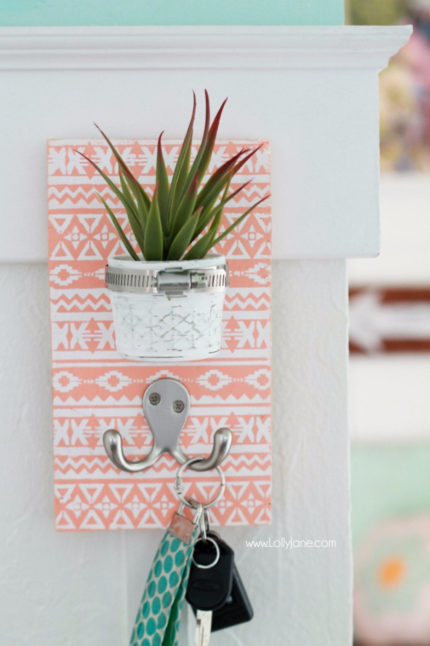 DIY Teen Room Decor Ideas for Girls | DIY Stenciled Succulent Key Hook | Cool Bedroom Decor, Wall Art & Signs, Crafts, Bedding, Fun Do It Yourself Projects and Room Ideas for Small Spaces http://diyprojectsforteens.com/diy-teen-bedroom-ideas-girls-rooms