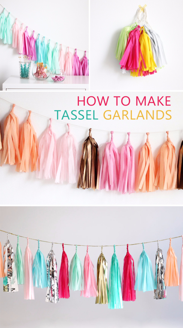 DIY Teen Room Decor Ideas for Girls | DIY Tassel Garland | Cool Bedroom Decor, Wall Art & Signs, Crafts, Bedding, Fun Do It Yourself Projects and Room Ideas for Small Spaces