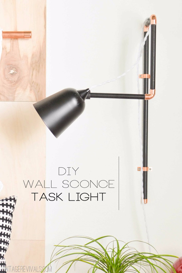 DIY Lighting Ideas for Teen and Kids Rooms - DIY Wall Sconce Task Lights - Fun DIY Lights like Lamps, Pendants, Chandeliers and Hanging Fixtures for the Bedroom plus cool ideas With String Lights. Perfect for Girls and Boys Rooms, Teenagers and Dorm Room Decor