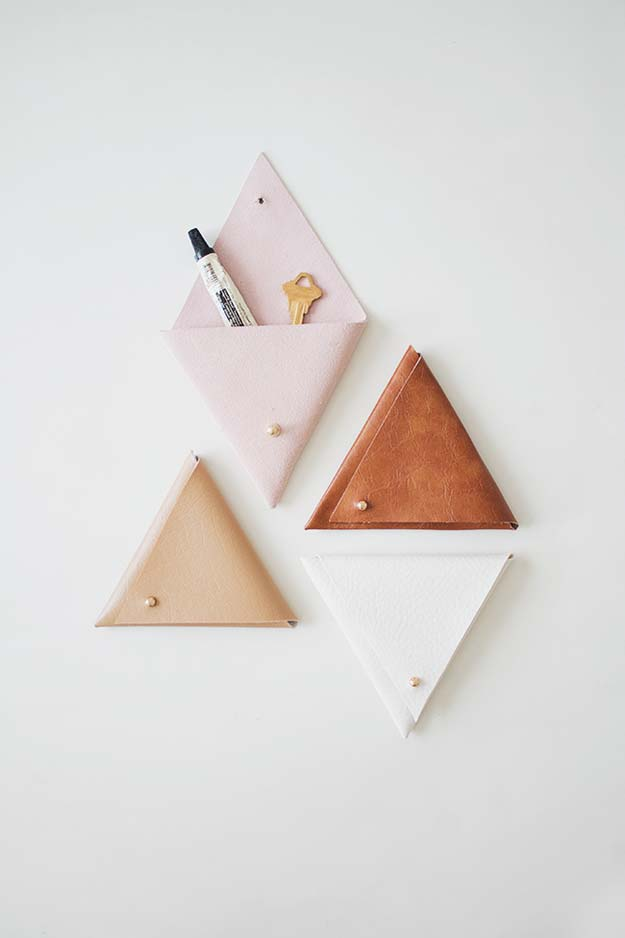 Fun Dollar Store Crafts for Teens - DIY Triangle Leather Pouch - Cheap and Easy DIY Ideas for Teenagers to Make for Dollar Stores - Inexpensive Gifts and Room Decor for Tweens, Boys and Girls - Awesome Step by Step Tutorials with Instructions for Cool DIY Projects http://diyprojectsforteens.com/dollar-store-crafts-teens