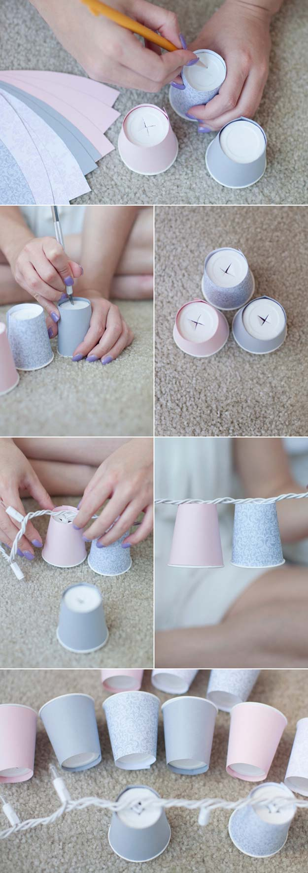 DIY Dorm Room Decor Ideas - Dixie Cup Garland - Cheap DIY Dorm Decor Projects for College Rooms - Cool Crafts, Wall Art, Easy Organization for Girls - Fun DYI Tutorials for Teens and College Students #diyideas #roomdecor #diy #collegelife #teencrafts