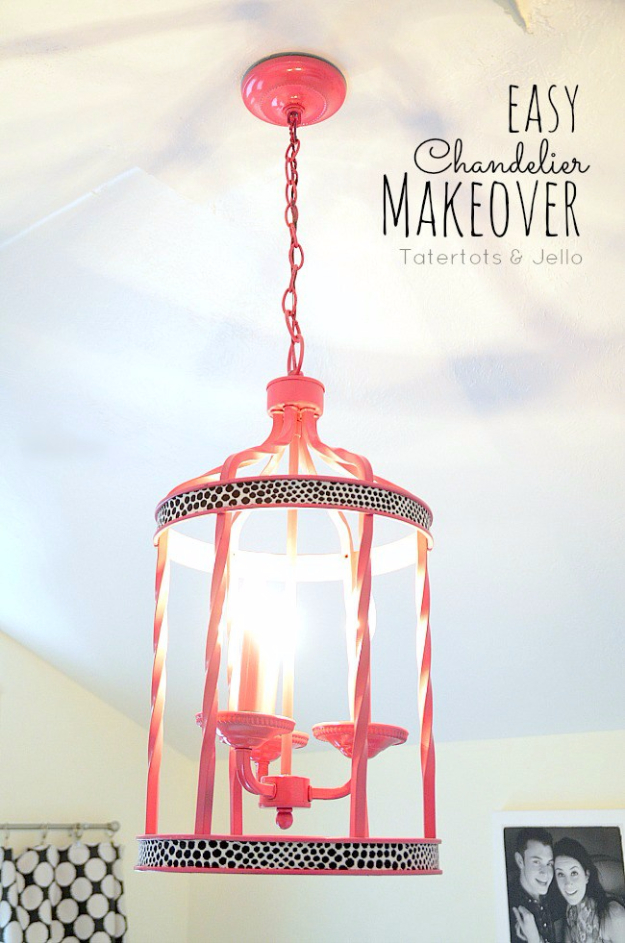 DIY Lighting Ideas for Teen and Kids Rooms - Easy Chandelier Makeover- Fun DIY Lights like Lamps, Pendants, Chandeliers and Hanging Fixtures for the Bedroom plus cool ideas With String Lights. Perfect for Girls and Boys Rooms, Teenagers and Dorm Room Decor