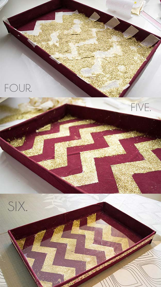 Best DIY Chevron Projects - DIY Chevron Glitter Vanity Tray - DIY Wall Art, Home and Room Decor, Canvas Crafts With Chevrons, Furniture and Chairs, Decorations With Paint Ideas Using Chevron Patterns for Bedroom, Bathroom and Teens Rooms. Learn How To Tape Chevron Art With Easy To Follow Step by Step Tutorials http://diyprojectsforteens.com/diy-projects-chevron