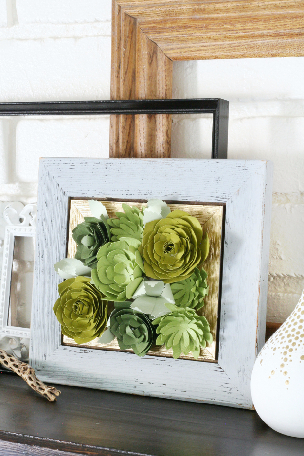 DIY Teen Room Decor Ideas for Girls | Framed Paper Succulents | Cool Bedroom Decor, Wall Art & Signs, Crafts, Bedding, Fun Do It Yourself Projects and Room Ideas for Small Spaces #teencrafts #roomdecor #teens #diy
