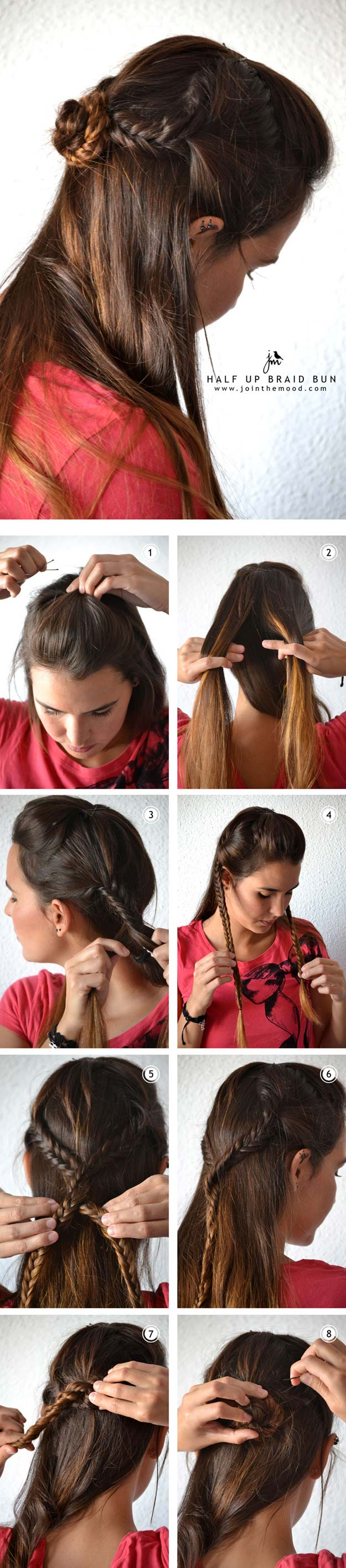 Best Hairstyles for Long Hair - Half Bun Braid - Step by Step Tutorials for Easy Curls, Updo, Half Up, Braids and Lazy Girl Looks. Prom Ideas, Special Occasion Hair and Braiding Instructions for Teens, Teenagers and Adults, Women and Girls http://diyprojectsforteens.com/best-hairstyles-long-hair