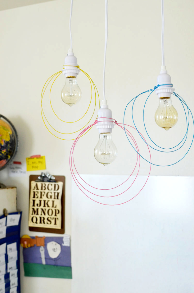 DIY Lighting Ideas for Teen and Kids Rooms - Halo Light Pendant DIY- Fun DIY Lights like Lamps, Pendants, Chandeliers and Hanging Fixtures for the Bedroom plus cool ideas With String Lights. Perfect for Girls and Boys Rooms, Teenagers and Dorm Room Decor