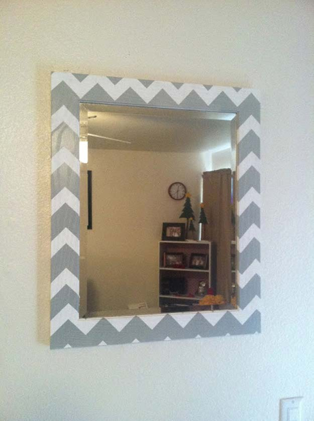 Best DIY Chevron Projects - DIY Chevron Mirror - DIY Wall Art, Home and Room Decor, Canvas Crafts With Chevrons, Furniture and Chairs, Decorations With Paint Ideas Using Chevron Patterns for Bedroom, Bathroom and Teens Rooms. Learn How To Tape Chevron Art With Easy To Follow Step by Step Tutorials http://diyprojectsforteens.com/diy-projects-chevron