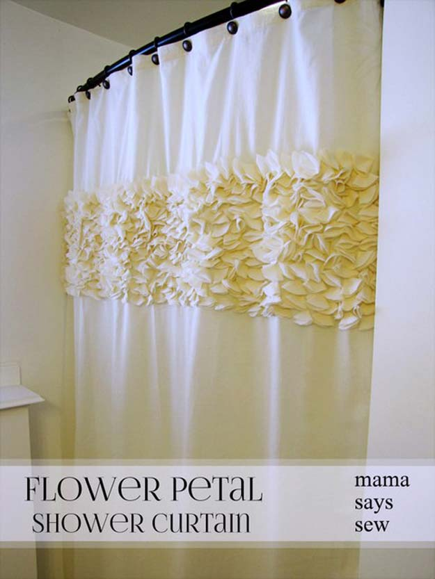 DIY Bathroom Decor Ideas For Teens   Flower Petal Shower Curtain   Best  Creative, Cool