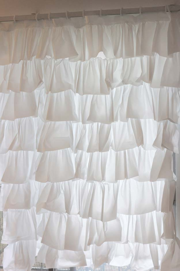 DIY Bathroom Decor Ideas for Teens - Anthro Inspired Ruffle Shower Curtain - Best Creative, Cool Bath Decorations and Accessories for Teenagers - Easy, Cheap, Cute and Quick Craft Projects That Are Fun To Make. Easy to Follow Step by Step Tutorials