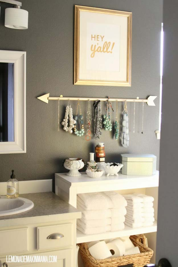diy bathroom decor ideas for teens jewelry holder best creative cool bath decorations - Small Apartment Bathroom Decorating Ideas