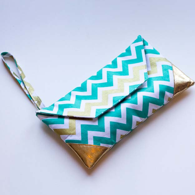 Best DIY Chevron Projects - DIY Katy's Chevron Clutch - DIY Wall Art, Home and Room Decor, Canvas Crafts With Chevrons, Furniture and Chairs, Decorations With Paint Ideas Using Chevron Patterns for Bedroom, Bathroom and Teens Rooms. Learn How To Tape Chevron Art With Easy To Follow Step by Step Tutorials http://diyprojectsforteens.com/diy-projects-chevron