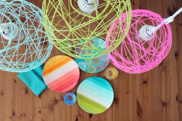 DIY Lighting Ideas for Teen and Kids Rooms - Illuminated Yarn Lanterns - Fun DIY Lights like Lamps, Pendants, Chandeliers and Hanging Fixtures for the Bedroom plus cool ideas With String Lights. Perfect for Girls and Boys Rooms, Teenagers and Dorm Room Decor