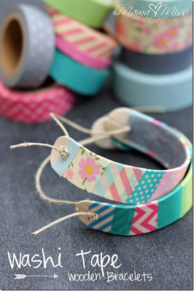 Fun Dollar Store Crafts for Teens - DIY Washi Tape Wooden Bracelets - Cheap and Easy DIY Ideas for Teenagers to Make for Dollar Stores - Inexpensive Gifts and Room Decor for Tweens, Boys and Girls - Awesome Step by Step Tutorials with Instructions for Cool DIY Projects http://diyprojectsforteens.com/dollar-store-crafts-teens