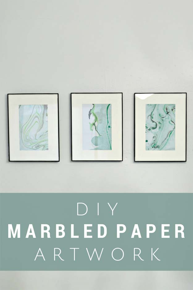 DIY Bathroom Decor Ideas for Teens - Marbled Paper Art Using Nail Polish - Best Creative