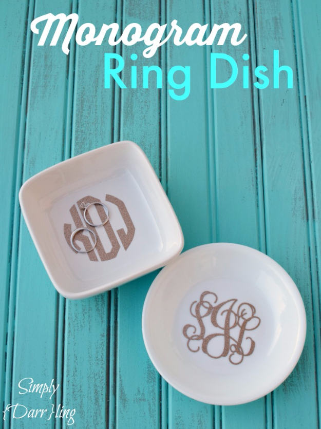 DIY Teen Room Decor Ideas for Girls | Monogram Ring Dish | Cool Bedroom Decor, Wall Art & Signs, Crafts, Bedding, Fun Do It Yourself Projects and Room Ideas for Small Spaces