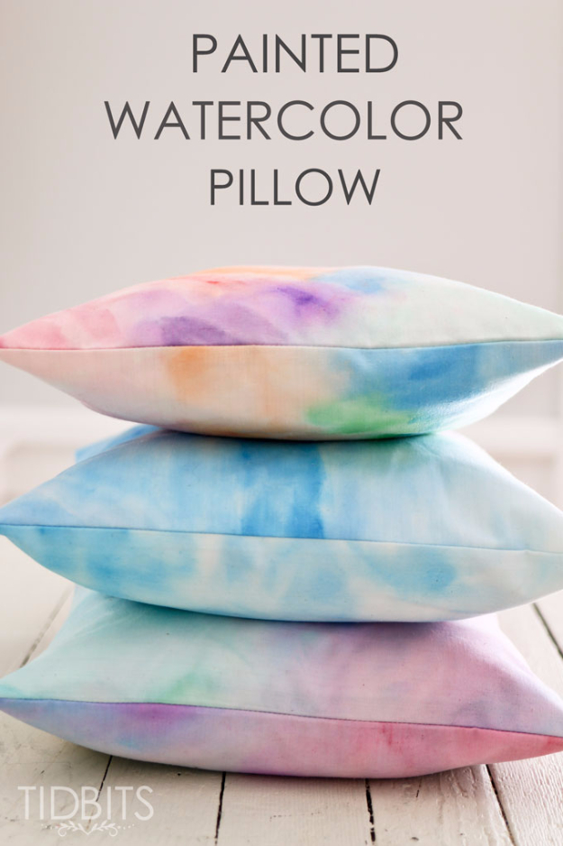 DIY Teen Room Decor Ideas for Girls | Painted Watercolor Pillow | Cool Bedroom Decor, Wall Art & Signs, Crafts, Bedding, Fun Do It Yourself Projects and Room Ideas for Small Spaces #teencrafts #roomdecor #teens #diy