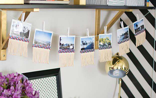 DIY Dorm Room Decor Ideas - Fringe Photo Garland - Cheap DIY Dorm Decor Projects for College Rooms - Cool Crafts, Wall Art, Easy Organization for Girls - Fun DYI Tutorials for Teens and College Students http://diyprojectsforteens.com/diy-dorm-room-decor