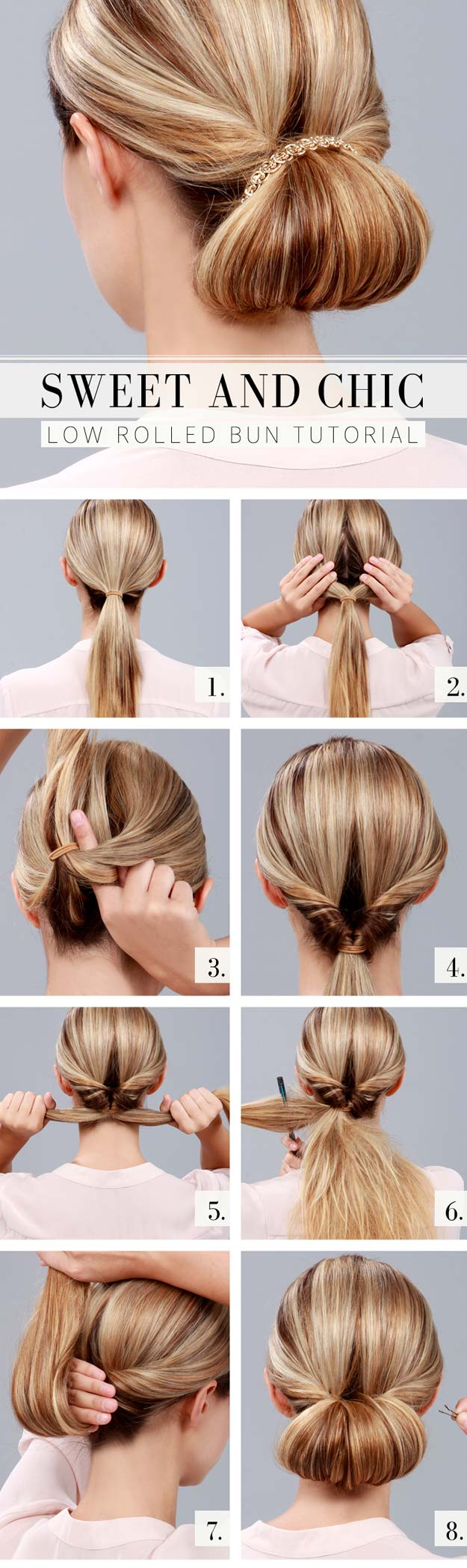 Best Hairstyles for Long Hair - Chic Low Rolled Bun- Step by Step Tutorials for Easy Curls, Updo, Half Up, Braids and Lazy Girl Looks. Prom Ideas, Special Occasion Hair and Braiding Instructions for Teens, Teenagers and Adults, Women and Girls http://diyprojectsforteens.com/best-hairstyles-long-hair