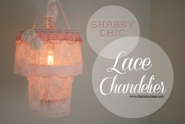 DIY Lighting Ideas for Teen and Kids Rooms - Shabby Chic Lace Chandelier - Fun DIY Lights like Lamps, Pendants, Chandeliers and Hanging Fixtures for the Bedroom plus cool ideas With String Lights. Perfect for Girls and Boys Rooms, Teenagers and Dorm Room Decor