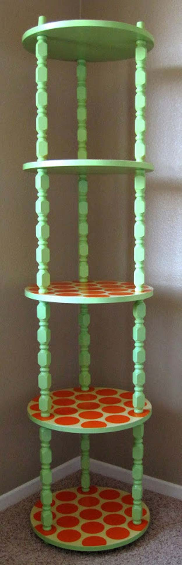 DIY Polka Dot Crafts and Projects - DIY Shelf Makeover - Cool Clothes, Room and Home Decor, Wall Art, Mason Jars and Party Ideas, Canvas, Fabric and Paint Project Tutorials - Fun Craft Ideas for Teens, Kids and Adults Make Awesome DIY Gifts