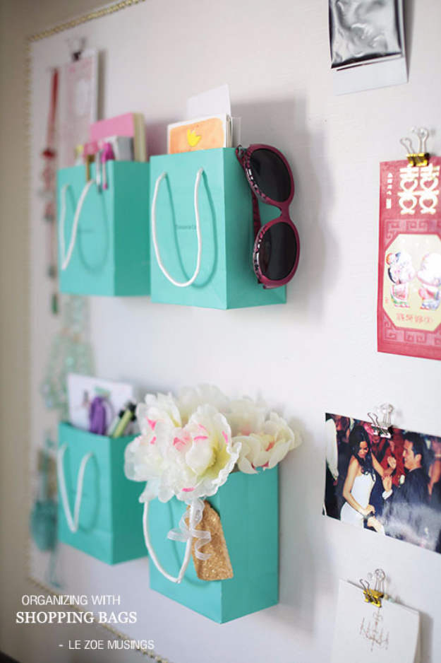 DIY Teen Room Decor Ideas for Girls | Shopping Bag Wall Holders | Cool Bedroom Decor, Wall Art & Signs, Crafts, Bedding, Fun Do It Yourself Projects and Room Ideas for Small Spaces http://diyprojectsforteens.com/diy-teen-bedroom-ideas-girls