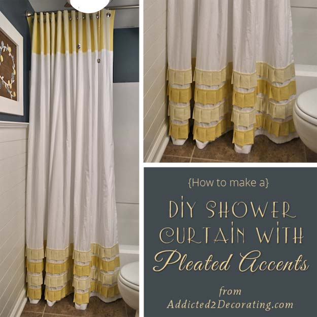 DIY Bathroom Decor Ideas for Teens - Long Shower Curtain With Pleated Ruffle Accents - Best Creative, Cool Bath Decorations and Accessories for Teenagers - Easy, Cheap, Cute and Quick Craft Projects That Are Fun To Make. Easy to Follow Step by Step Tutorials
