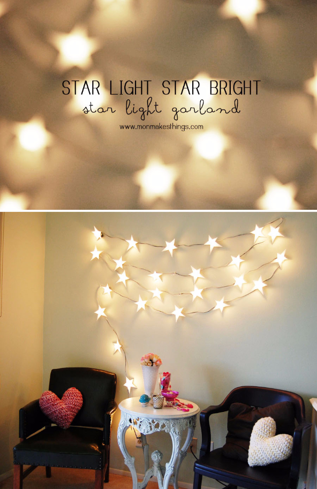 DIY Teen Room Decor Ideas for Girls | Star Light Garland | Cool Bedroom Decor, Wall Art & Signs, Crafts, Bedding, Fun Do It Yourself Projects and Room Ideas for Small Spaces http://diyprojectsforteens.com/diy-teen-bedroom-ideas-girls