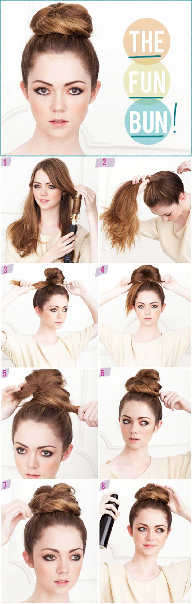 Best Hairstyles for Long Hair - Fun Bun- Step by Step Tutorials for Easy Curls, Updo, Half Up, Braids and Lazy Girl Looks. Prom Ideas, Special Occasion Hair and Braiding Instructions for Teens, Teenagers and Adults, Women and Girls http://diyprojectsforteens.com/best-hairstyles-long-hair