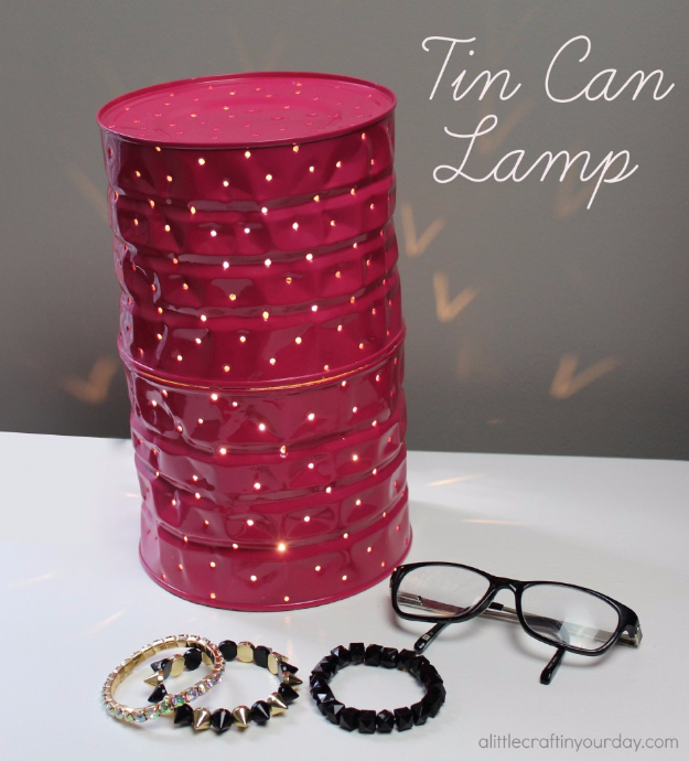 DIY Lighting Ideas for Teen and Kids Rooms - Tin Can Lamp - Fun DIY Lights like Lamps, Pendants, Chandeliers and Hanging Fixtures for the Bedroom plus cool ideas With String Lights. Perfect for Girls and Boys Rooms, Teenagers and Dorm Room Decor