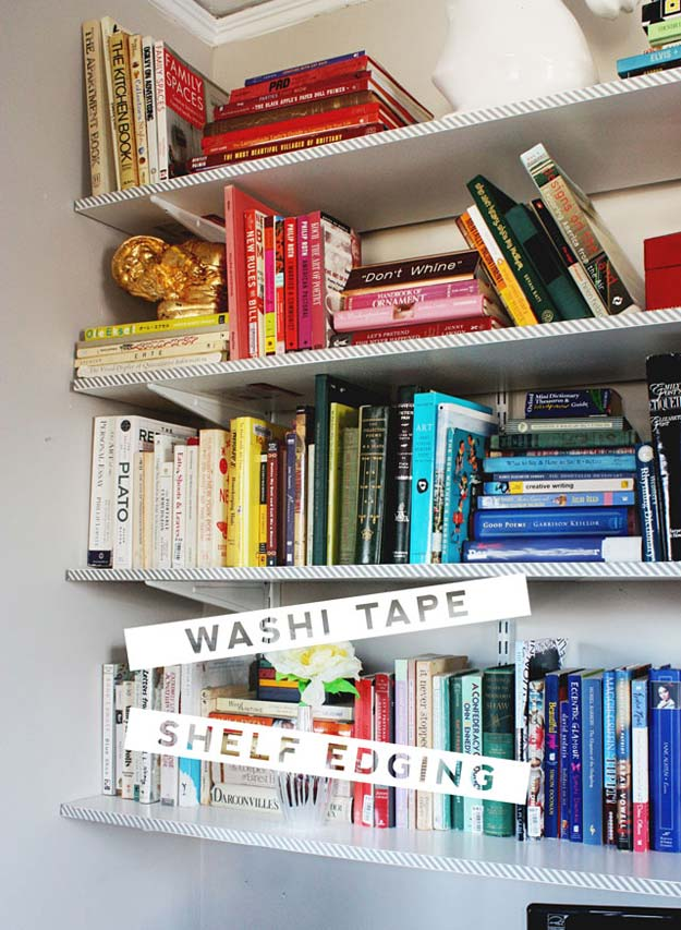 DIY Dorm Room Decor Ideas - Washi Tape Shelf Edging - Cheap DIY Dorm Decor Projects for College Rooms - Cool Crafts, Wall Art, Easy Organization for Girls - Fun DYI Tutorials for Teens and College Students http://diyprojectsforteens.com/diy-dorm-room-decor