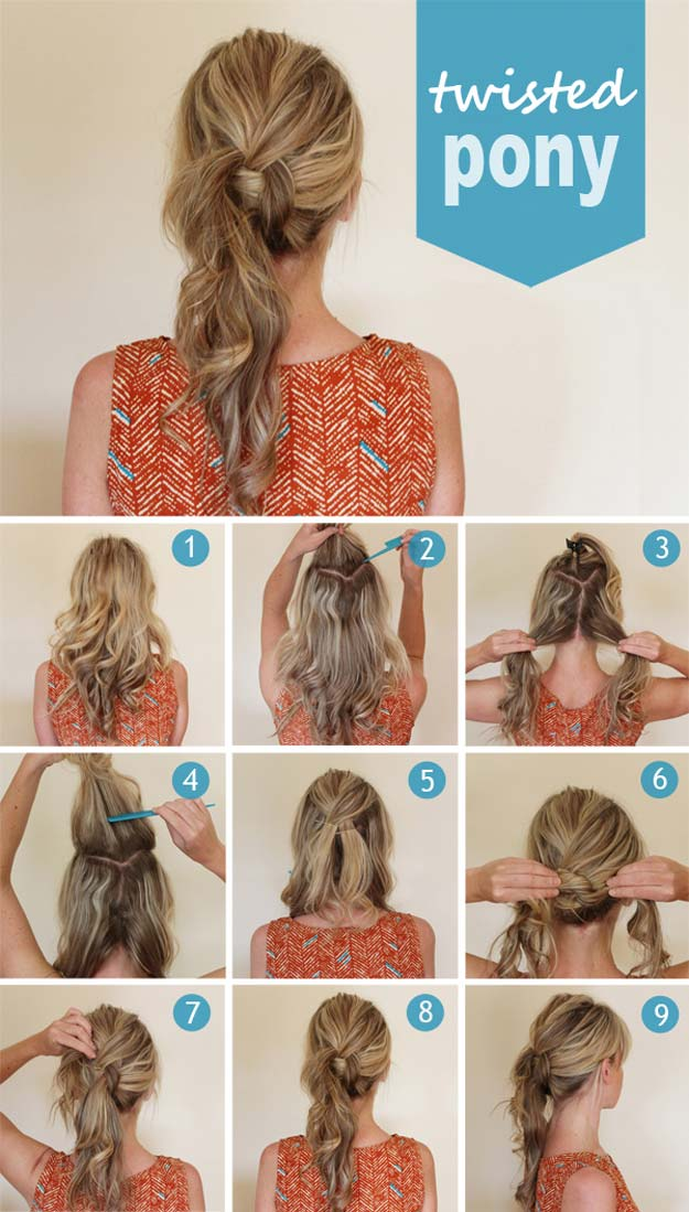 Best Hairstyles for Long Hair - Twisted Pony- Step by Step Tutorials for Easy Curls, Updo, Half Up, Braids and Lazy Girl Looks. Prom Ideas, Special Occasion Hair and Braiding Instructions for Teens, Teenagers and Adults, Women and Girls http://diyprojectsforteens.com/best-hairstyles-long-hair