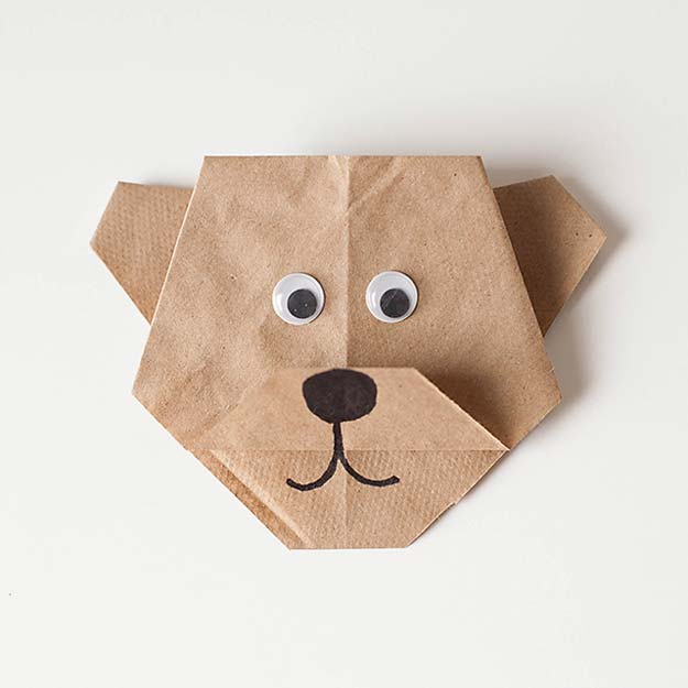 Best Origami Tutorials - Origami Bear - Easy DIY Origami Tutorial Projects for With Instructions for Flowers, Dog, Gift Box, Star, Owl, Buttlerfly, Heart and Bookmark, Animals - Fun Paper Crafts for Teens, Kids and Adults #origami #crafts