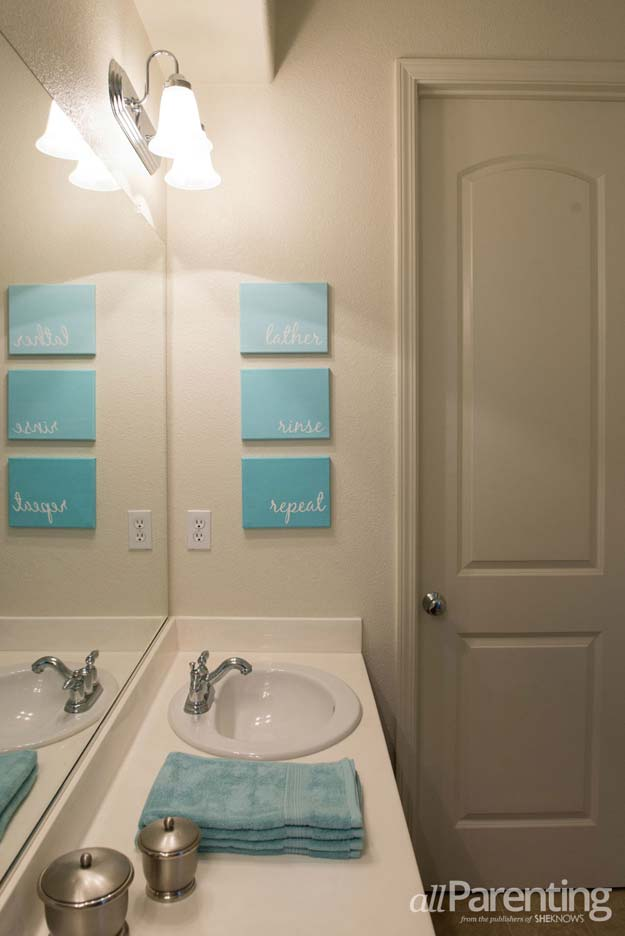 DIY Bathroom Decor Ideas for Teens - Bathroom Canvas Art - Best Creative, Cool Bath Decorations and Accessories for Teenagers - Easy, Cheap, Cute and Quick Craft Projects That Are Fun To Make. Easy to Follow Step by Step Tutorials