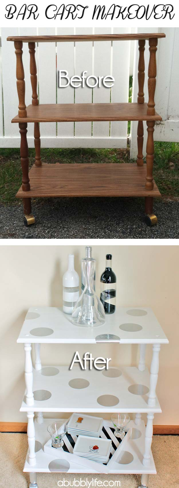 DIY Polka Dot Crafts and Projects - DIY Polka Dotted Bar Cart - Cool Clothes, Room and Home Decor, Wall Art, Mason Jars and Party Ideas, Canvas, Fabric and Paint Project Tutorials - Fun Craft Ideas for Teens, Kids and Adults Make Awesome DIY Gifts