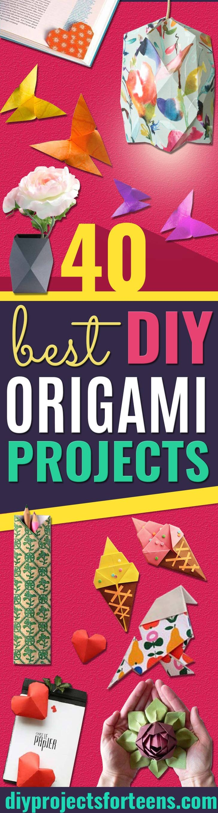 Origami Tutorials Step by Step - Easy DIY Origami Tutorial Projects for With Instructions for Flowers, Dog, Gift Box, Star, Owl, Buttlerfly, Heart and Bookmark, Animals - Fun Paper Crafts for Teens, Kids and Adults - Cool Teen Crafts That Are Cheap #teencrafts #origami #papercrafts