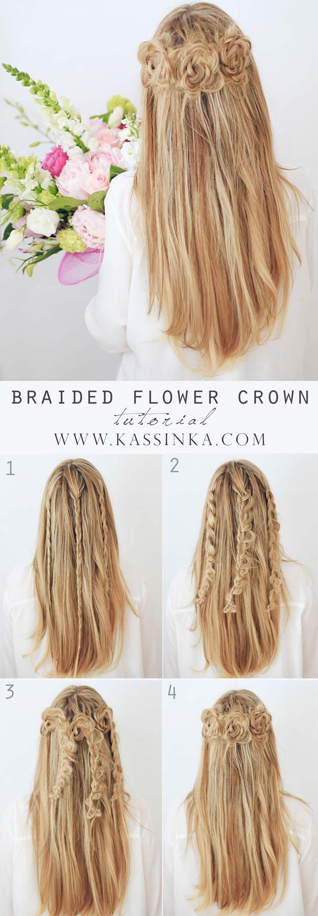 Hairstyles Step By Step braided rose bow hairstyle step by step method Best Hairstyles For Long Hair Braided Flower Crown Step By Step Tutorials For Easy