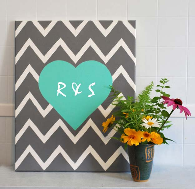 Best DIY Chevron Projects - DIY Chevron Heart Wall Art - DIY Wall Art, Home and Room Decor, Canvas Crafts With Chevrons, Furniture and Chairs, Decorations With Paint Ideas Using Chevron Patterns for Bedroom, Bathroom and Teens Rooms. Learn How To Tape Chevron Art With Easy To Follow Step by Step Tutorials http://diyprojectsforteens.com/diy-projects-chevron