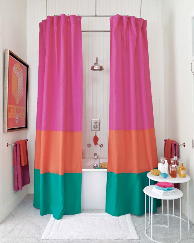 DIY Bathroom Decor Ideas for Teens - Color-Block Shower Curtain - Best Creative, Cool Bath Decorations and Accessories for Teenagers - Easy, Cheap, Cute and Quick Craft Projects That Are Fun To Make. Easy to Follow Step by Step Tutorials