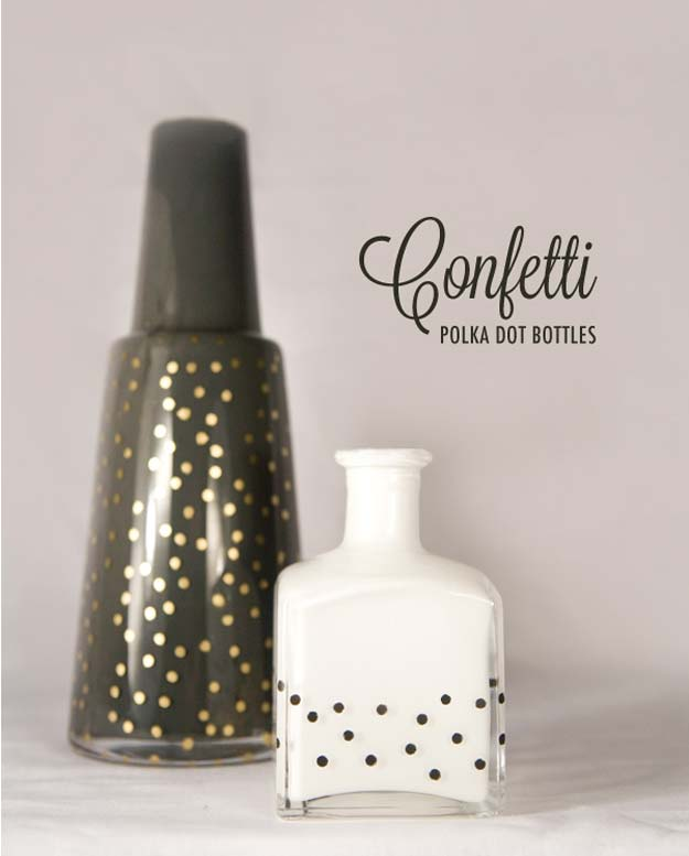 DIY Polka Dot Crafts and Projects - DIY Polka Dots Bottles - Cool Clothes, Room and Home Decor, Wall Art, Mason Jars and Party Ideas, Canvas, Fabric and Paint Project Tutorials - Fun Craft Ideas for Teens, Kids and Adults Make Awesome DIY Gifts