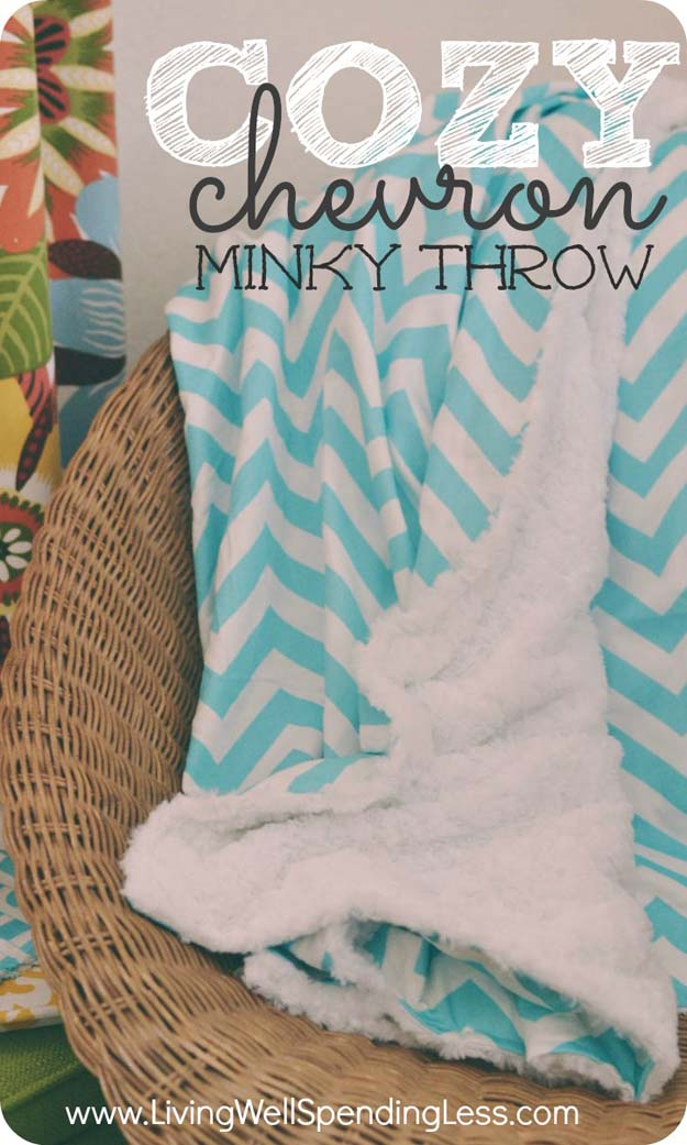 Best DIY Chevron Projects - DIY Cozy Chevron Minky Throw - DIY Wall Art, Home and Room Decor, Canvas Crafts With Chevrons, Furniture and Chairs, Decorations With Paint Ideas Using Chevron Patterns for Bedroom, Bathroom and Teens Rooms. Learn How To Tape Chevron Art With Easy To Follow Step by Step Tutorials http://diyprojectsforteens.com/diy-projects-chevron