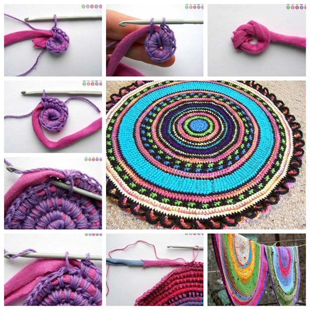 DIY Bathroom Decor Ideas for Teens - Crochet Rug From Old T-shirt - Best Creative, Cool Bath Decorations and Accessories for Teenagers - Easy, Cheap, Cute and Quick Craft Projects That Are Fun To Make. Easy to Follow Step by Step Tutorials http://diyprojectsforteens.com/diy-bathroom-decor-teens